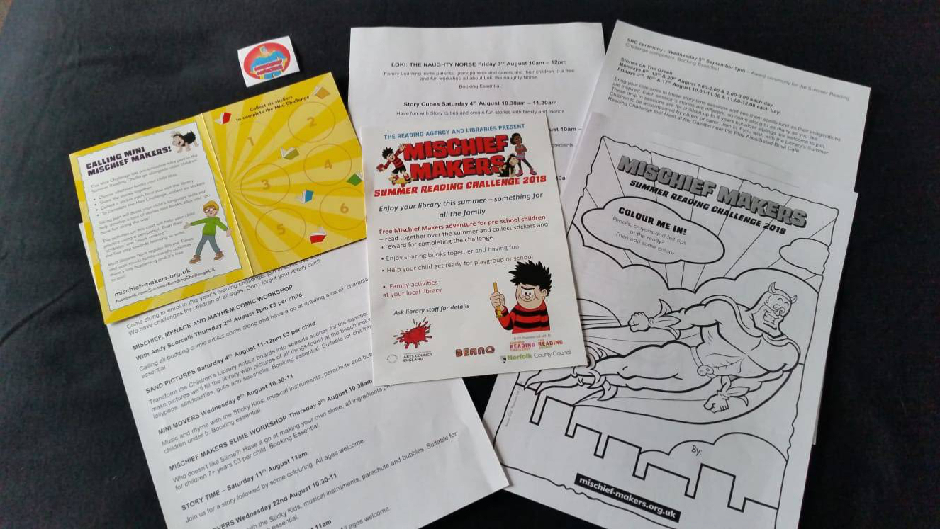 Reading materials and activities for the 2018 Summer Reading Challenge, themed Mischief Makers and produced in association with the Beano comic magazine
