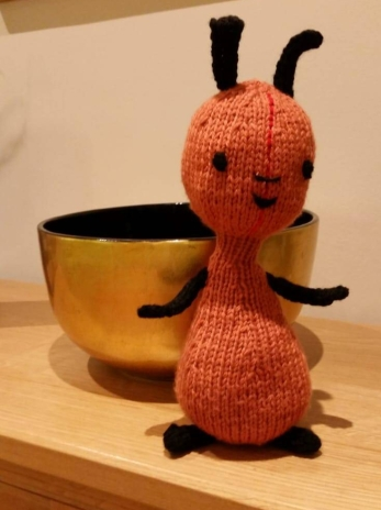 A homemade knitted toy of Flop, Bing's carer from the British children's television show, based on the books by Ted Dewan