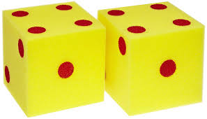 A pair of die or dice, yellow with red dots