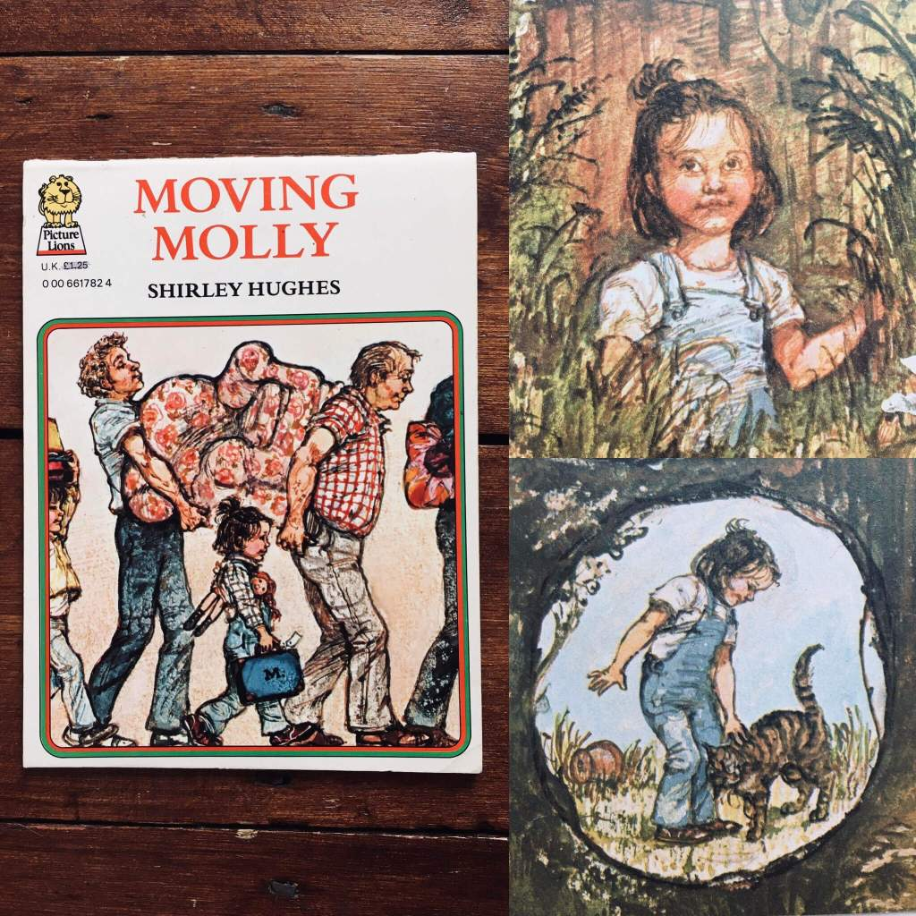 A montage shows the cover of Shirley Hughes's picture book, Moving Molly and two inset images of the protagonist, a little girl called Molly, finding an overgrown garden to play in.