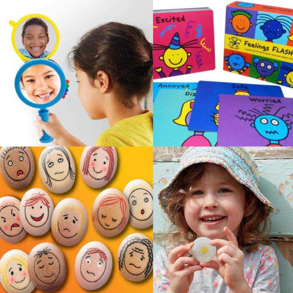 A gallery of educational products design to help children explore their emotions: See My Feelings Mirror  from Learning Resources, Todd Parr's Feelings Flashcards from Play Therapy Support, and Self-regulation Stones and Emotion Stones from Yellow Door