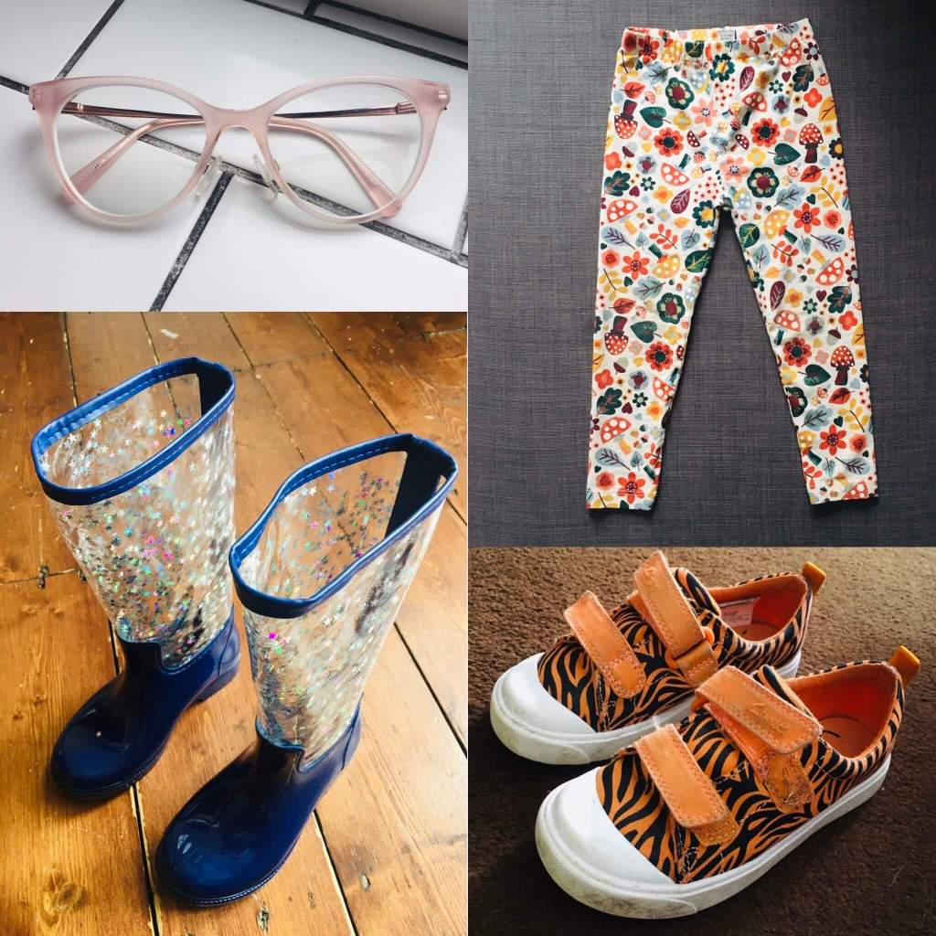A collage of four 'pairs - a pair of leggings, a pair of trainers, a pair of wellington boots and a pair of spectacles