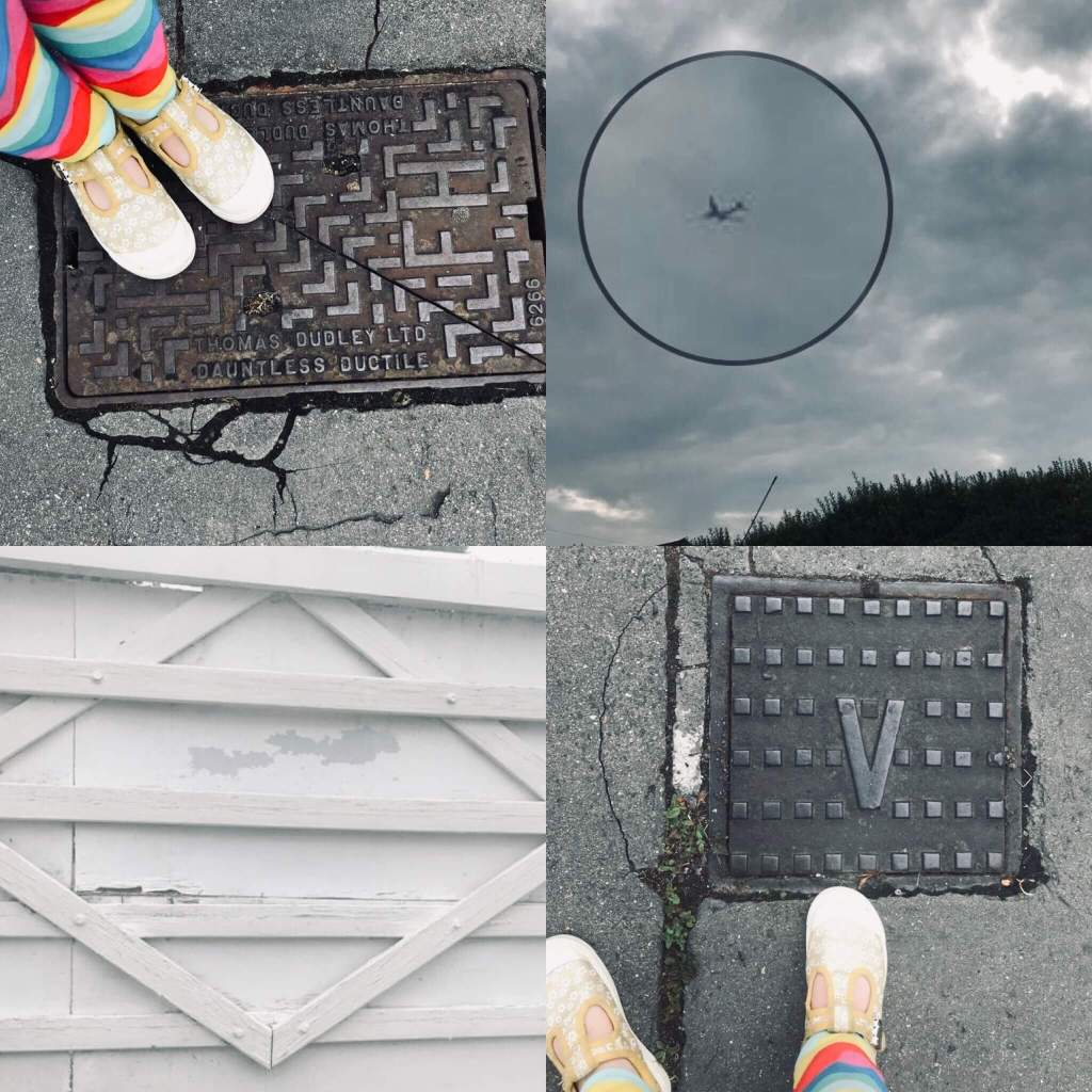 A collage of images of street furniture taken by a child - two drain covers, one marked with a V, a large white gate with a diamond pattern on it, and a passenger plane seen high in the air.