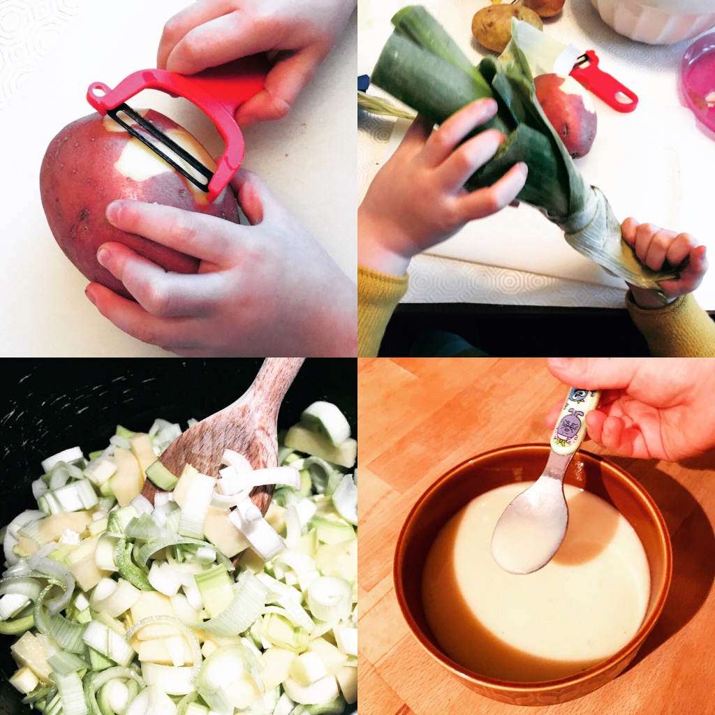 A series of images shows a child preparing a serving of leek and potato soup from peeling potatoes and leeks to stirring the mixture to eating the blended soup.