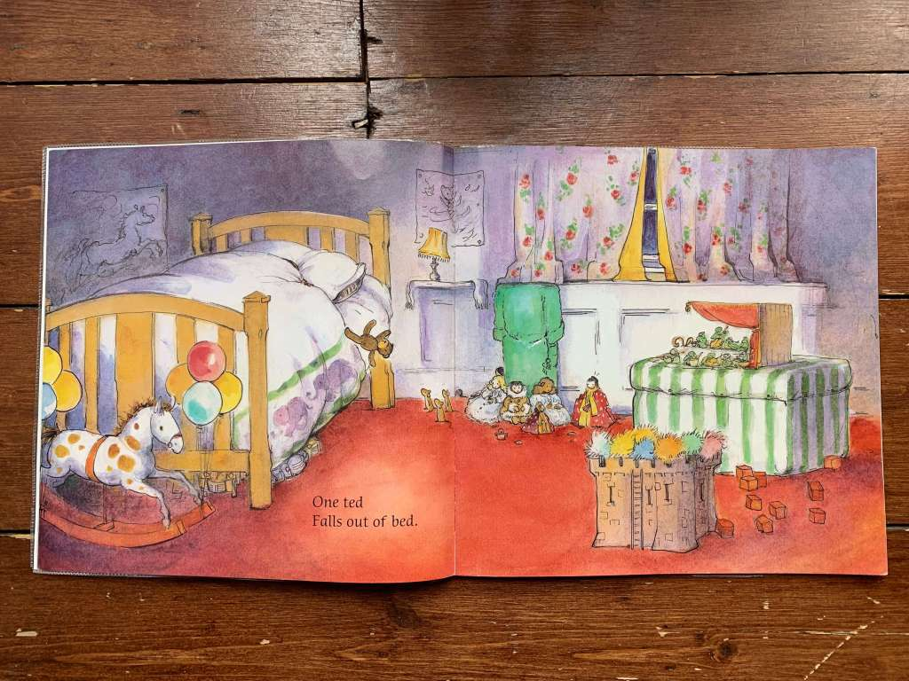 A spread from the children's book for One Ted Falls Out Of Bed (written by Julia Donaldson and illustrated by Anna Currey)